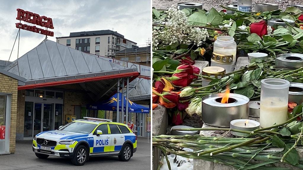 Blommor har lagts på den plats där en tonåring sköts till döds i Berga, Linköping