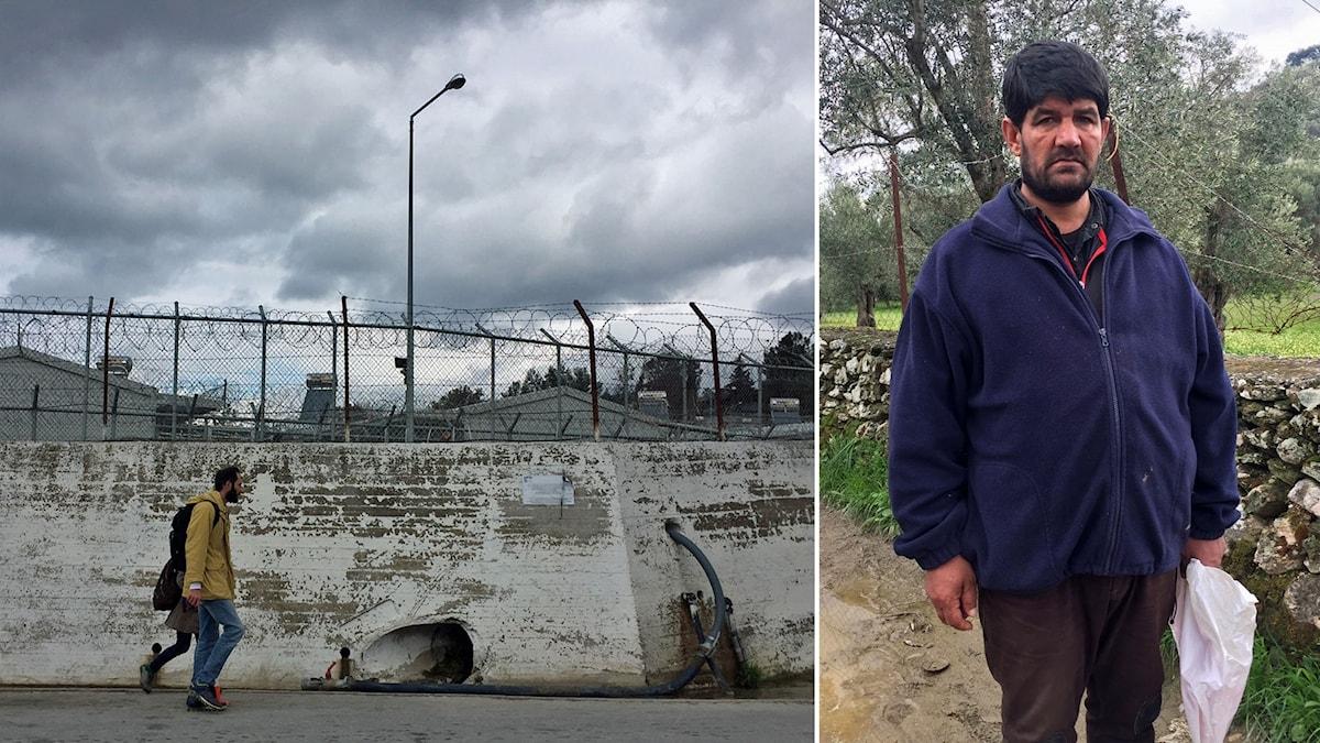 Delad bild: Man som går framför en mur med taggtråd, man som står framför en låg mur med en plastpåse i handen.