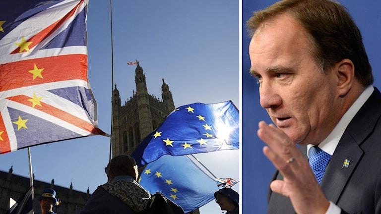 Stefan Löfven är fortfarande hoppfull angående brexit. Foto: Jessica Gow/Tolga Aknen/TT. Montage: Sveriges Radio.