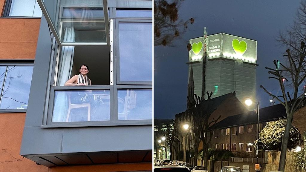 kvinna tittar ut genom balkongfönster och bild på Grenfell Tower som brann för tre år sedan.