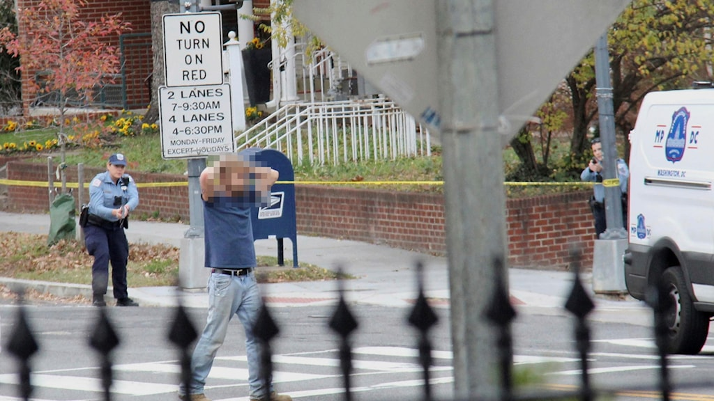 Mannen som avlossade skott på pizzerian i Washington DC greps av polis.