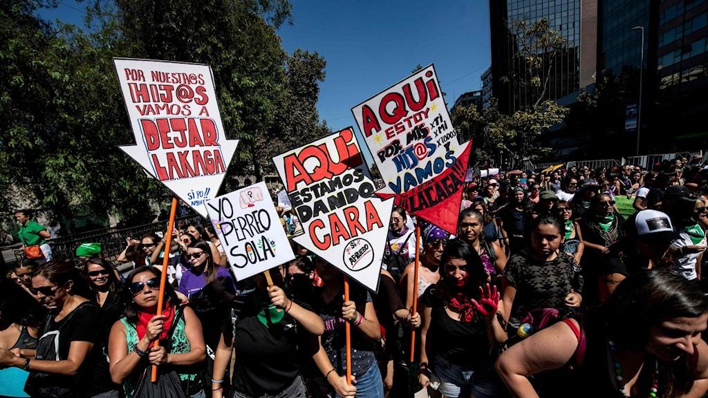 Både kvinnor och män demonstrerade i Chiles huvudstad Santiago.