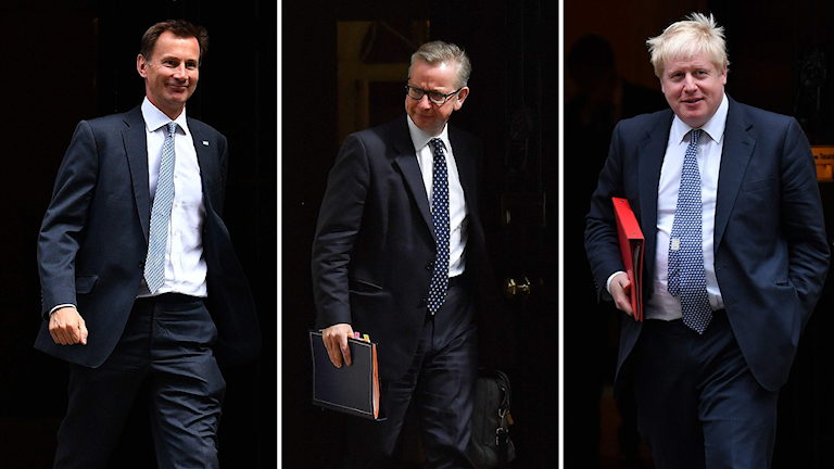 Kollage av Jeremy Hunt, Michael Gove och Boris Johnson.
