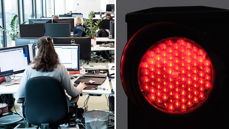 kontor och rödljus.
