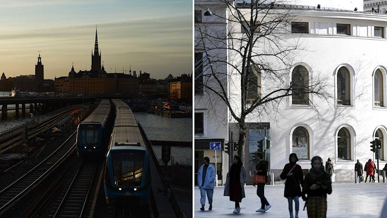 Till vänster: Stockholm. Till höger: Helsingfors.