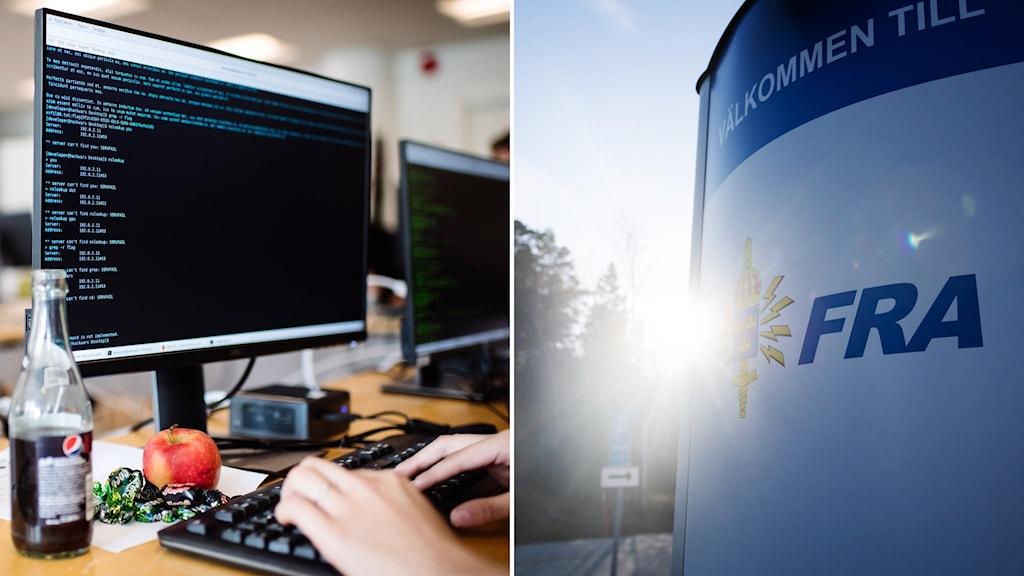 En datorskärm och en FRA-skylt