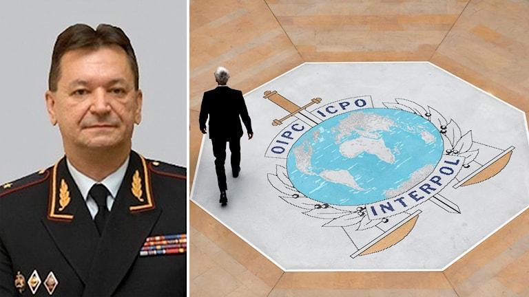 Delad bild: Rysk general i uniform, man som går över ett stort Interpol-emblem i golvet.