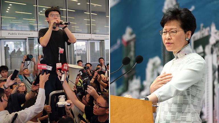 Demokratiaktivisten Joshua Wong talar för demonstranterna efter att han släppts ut från fängelset. Han krävde att Hongkongs chefsminister Carrie Lam skulle avgå.