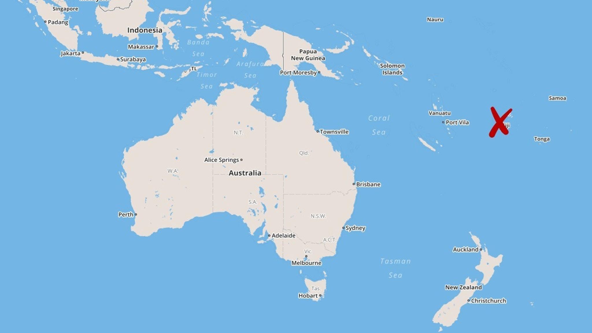 fiji karta Kraftig jordbävning utanför Fiji   Nyheter (Ekot) | Sveriges Radio fiji karta