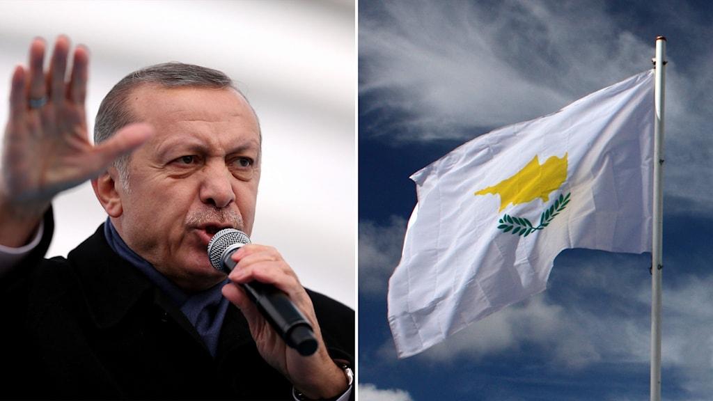 Delad bild: President som håller tal och Cyperns flagga.