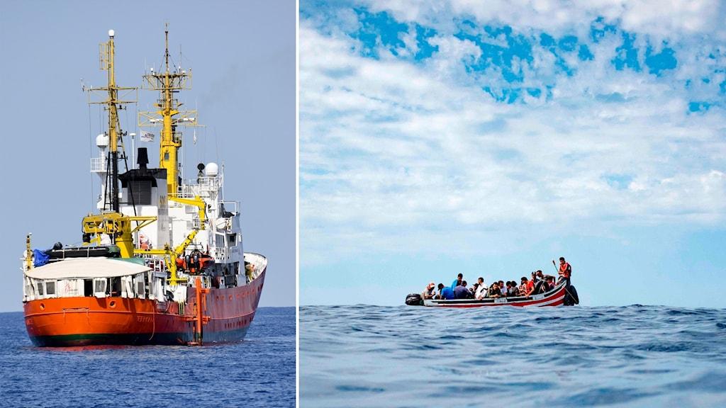 Delad bild: Fartyg stävar ut mot havet, båt med migranter och havsvågor