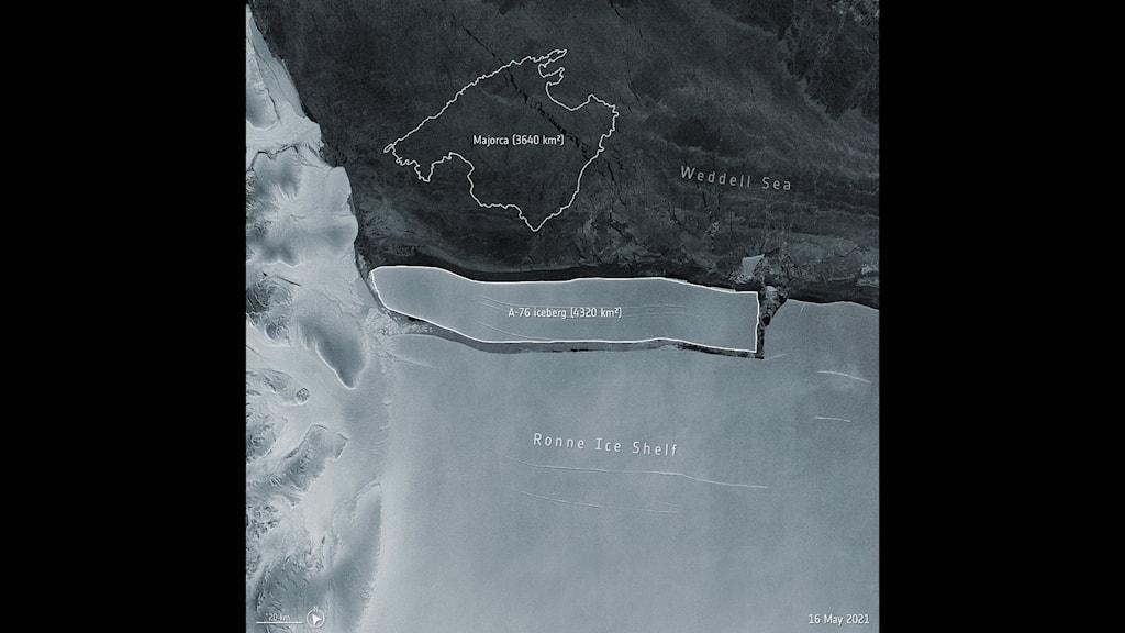 Satellitbild på isberget.