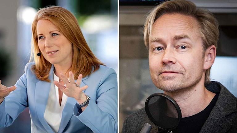 Kollage av Centerpartiets partiledare Annie Lööf och Ekots Fredrik Furtenbach.