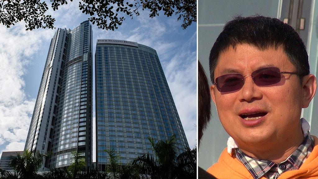 Delad bild: Hotell i Hongkong och man med solglasögon