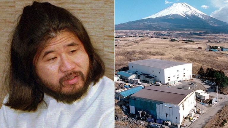 Kultledaren Shoko Asahara och den japanska sektens högkvarter nära Fujiberget. Arkivbilder.