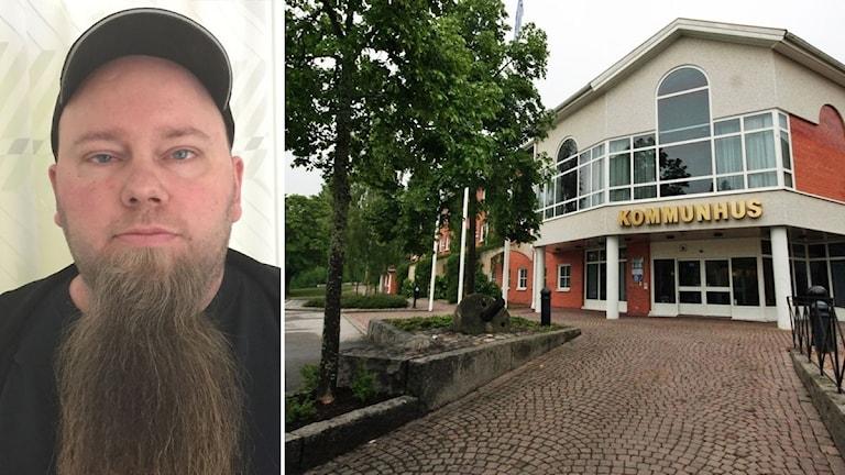 Till vänster: Robert Andersson, socialtjänsten, Hultsfred. Till höger: Kommunhuset i Hultsfred.