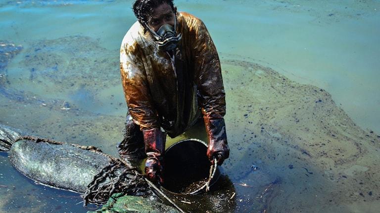 En man skopar upp utläckt olja från vattnet i ett kärl