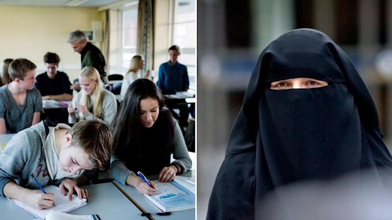 Till vänster: Gymnasieelever i ett klassrum i en norsk skola. Till höger: En kvinna i burka.