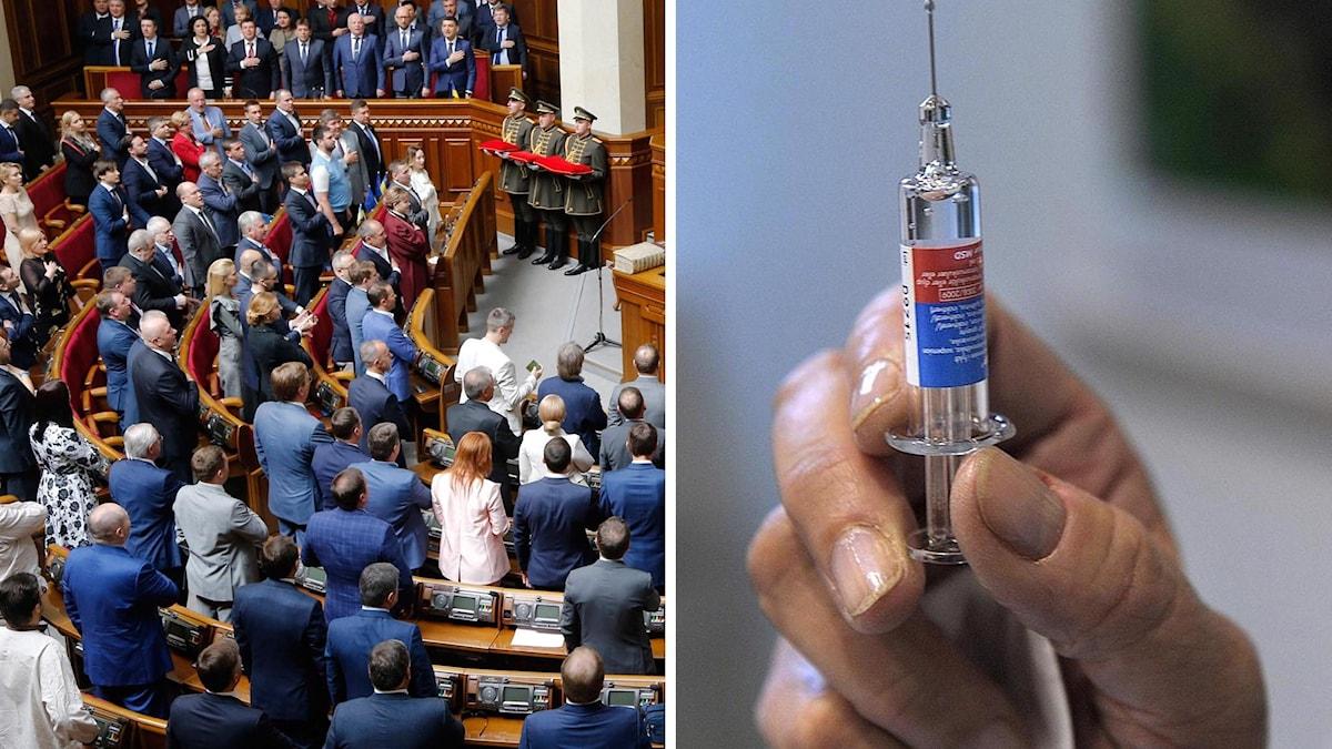 Parlamentet i Kiev och spruta (arkivbilder). Foto: Efrem Lukatskz/Fredrik Sandberg/TT. Montage: Sveriges Radio.