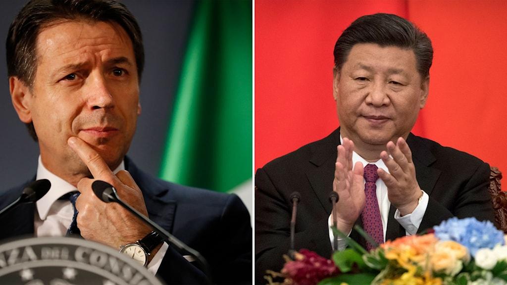 Italiens Giuseppe Conte och Kinas Xi Jinping