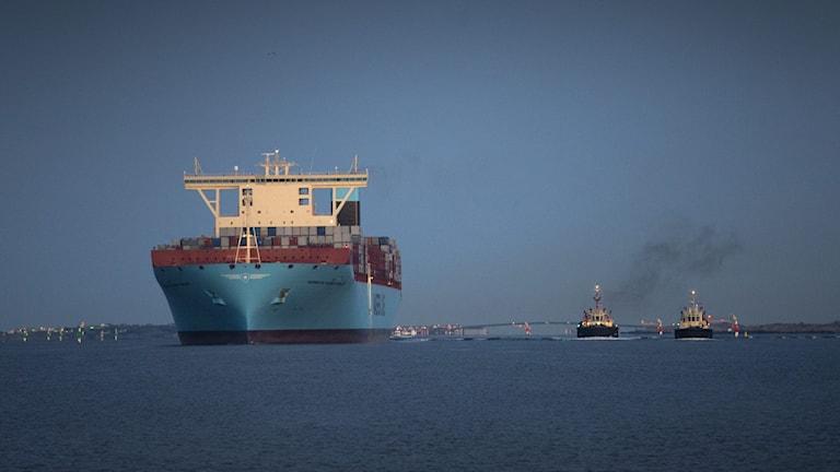 Stort containerfartyg och två mindre bogserbåtar.