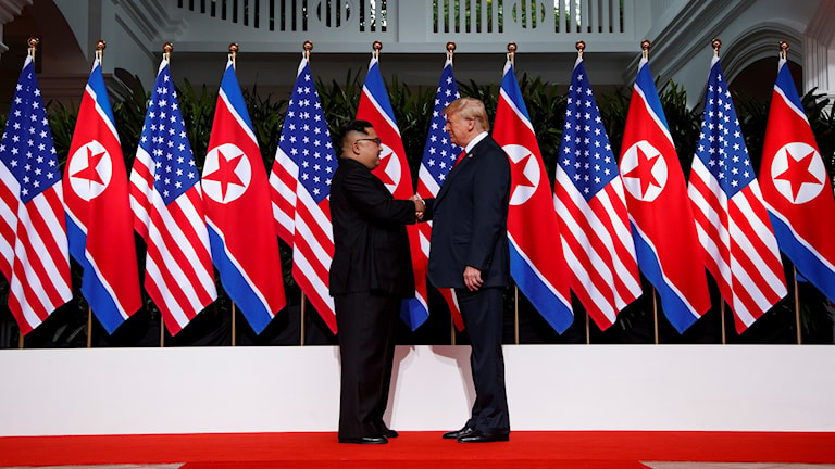 Kim Jong-Un och Donald Trump under det första toppmötet.