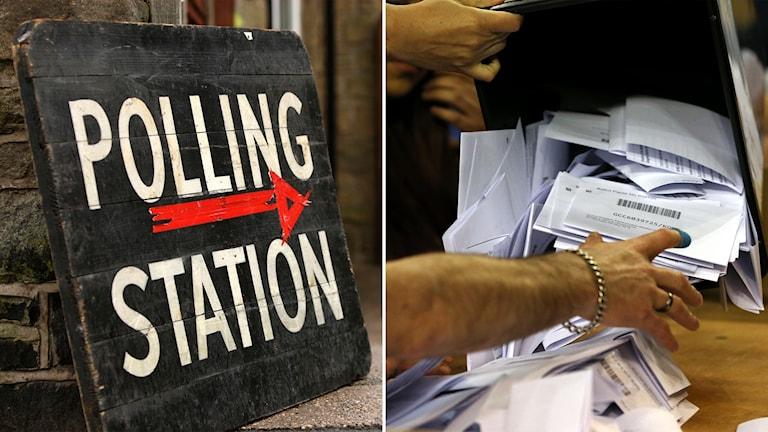 Röstningslokal och rösträkning i Storbritannien.
