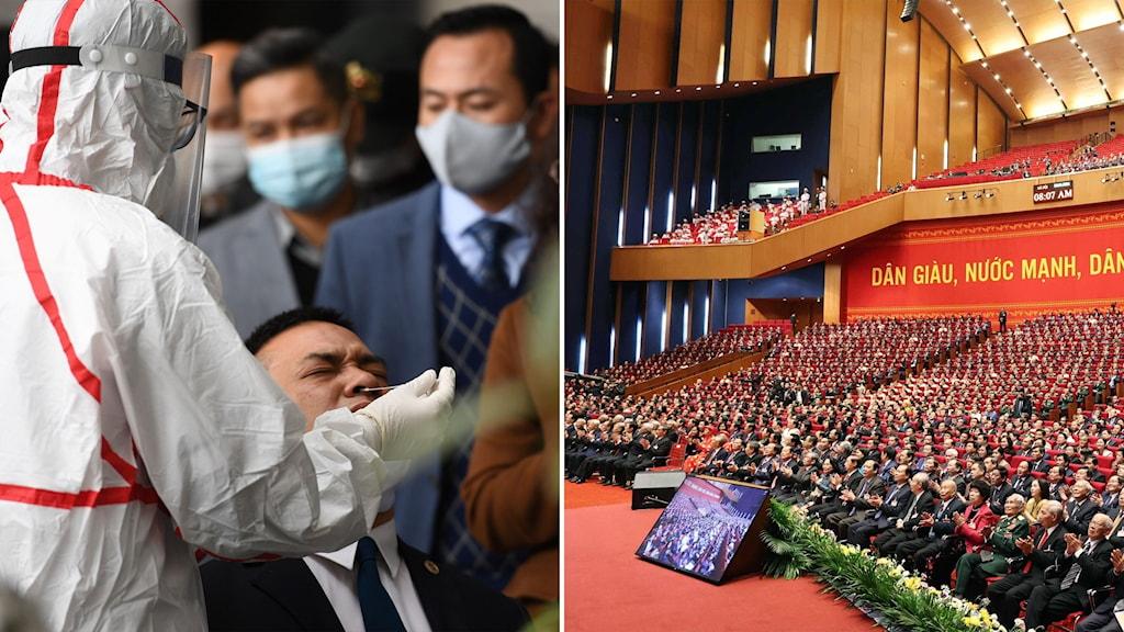 Delad bild: Person som tar näsprov, kongressal full med delegater.