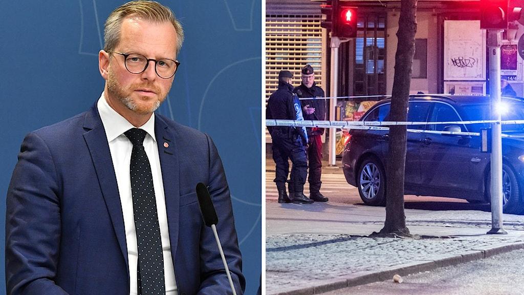 Mikael Damberg om skjutningarna (arkivbilder). Foto: Jonas Ekströmer/Johan Nilsson/TT. Montage: Sveriges Radio.