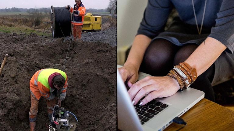 Två personer jobbar med att lägga bredbandskabel, en person sitter vid en dator.