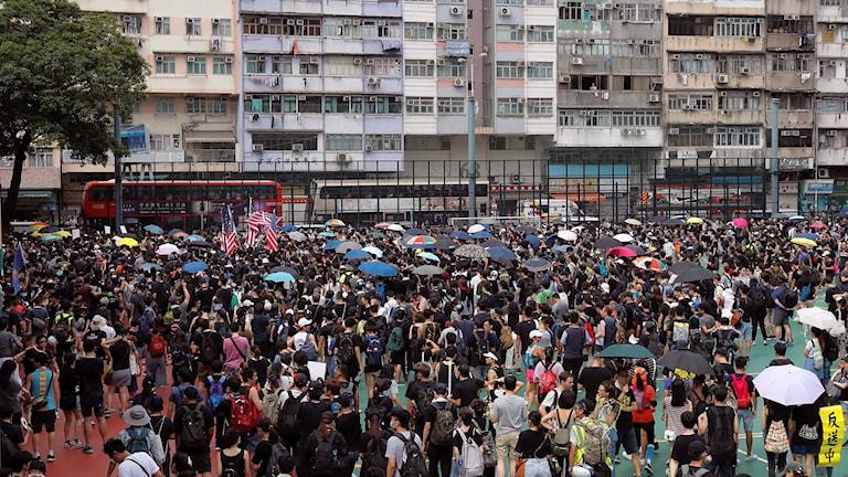 Protester i Hongkong.