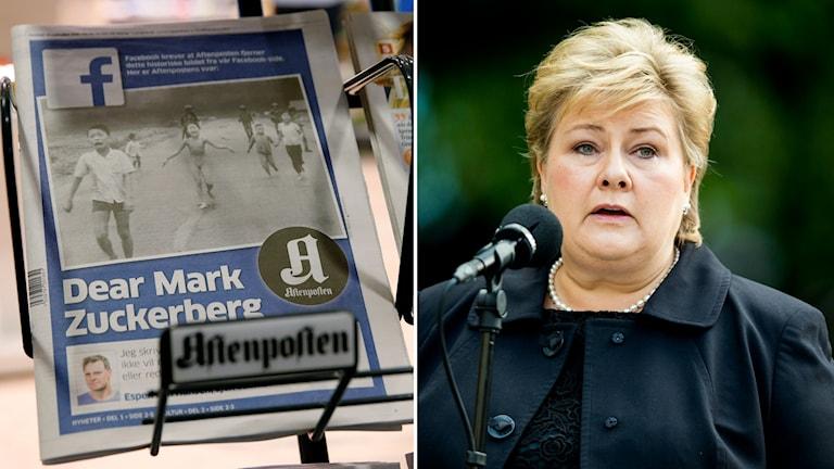 """Tidning med löpet """"Kära Mark Zuckerberg"""" och Norges statsminister Erna Solberg"""