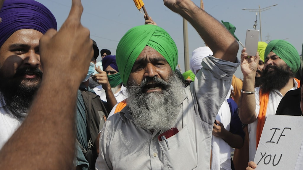 Demonstranter i Bombay, Indien