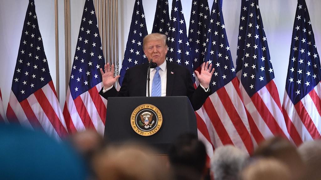 USA:s president Donald Trump under sin presskonferens.