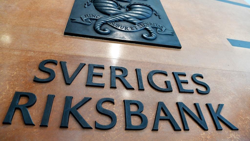 Skylt med texten Sveriges Riksbank