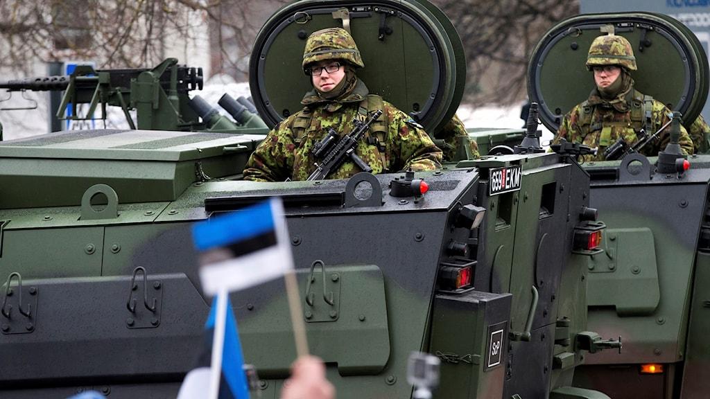 Estnisk militär visar upp sig under landets nationaldag.