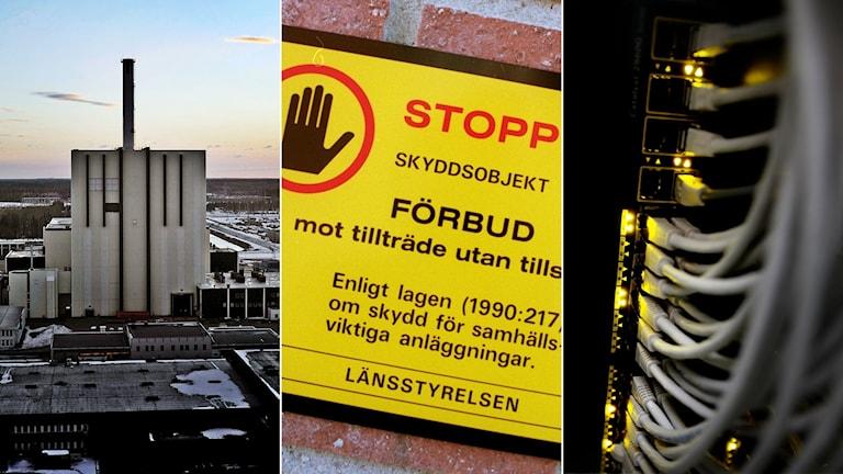 Tredelad bild: Kärnkraftverk, skylt vid ett skyddsobjekt och nätverkskablar