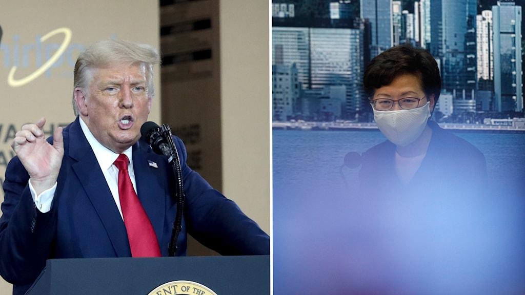 President Donald Trump och Hongkongs ledare Carrie Lam