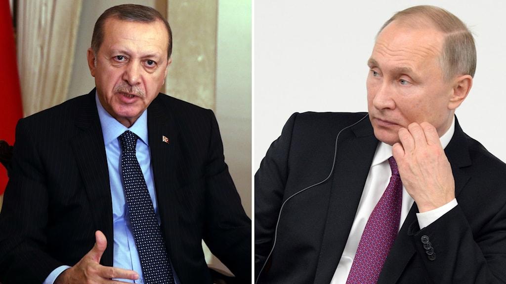 Bildkollage med  Recep Tayyip Erdogan och Vladimir Putin.