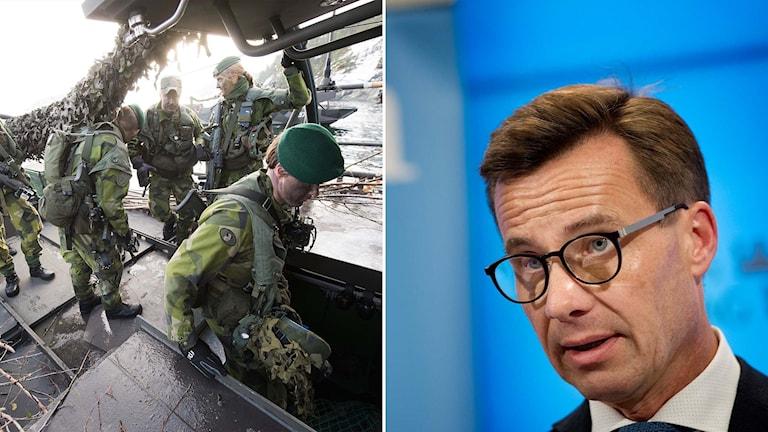 Soldater går ombord på en båt, Moderaternas ekonomisk politiske talesperson Ulf Kristersson
