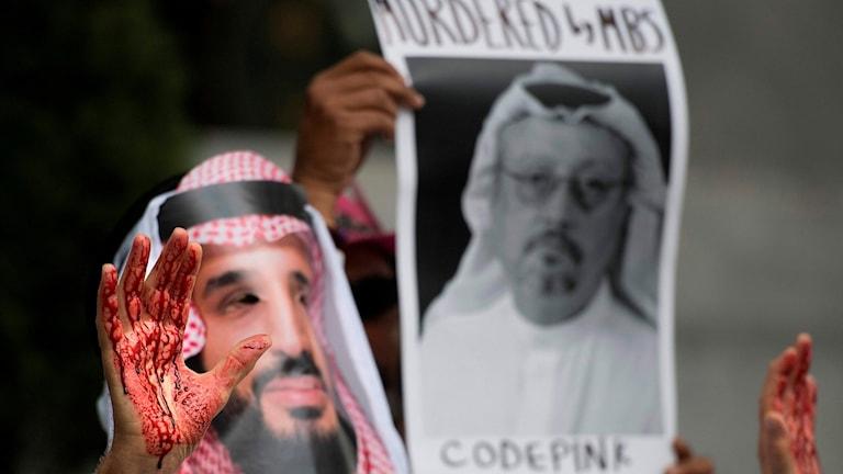 Protester mot misstänkt journalistmord  Jamal Khashoggi