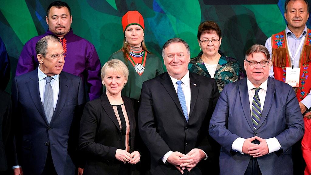 Sergey Lavrov, Margot Wallstrom, Mike Pompeo och Timo Soini.