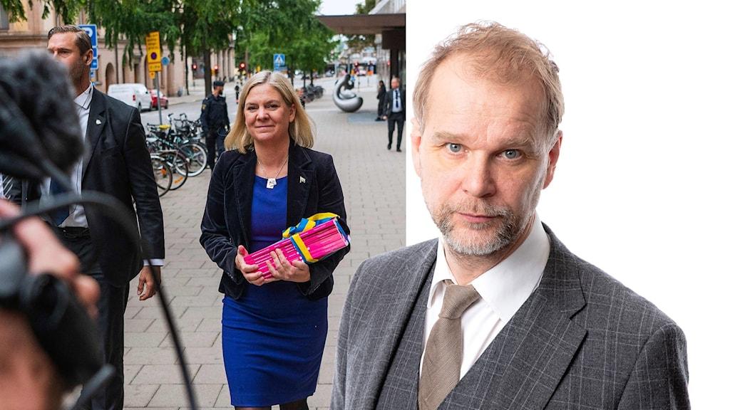 Magdalena Andersson  går med budgetluntan i hand. Och en frilagd bild på Kristian Åström