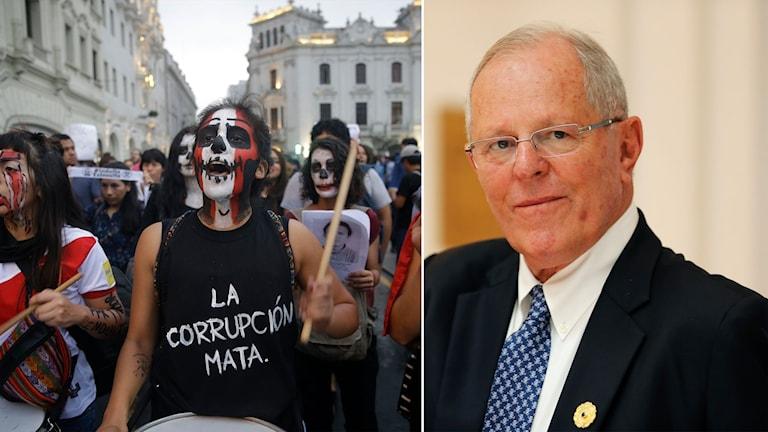 Demonstrantion mot Perus president Pedro Pablo Kuczynski