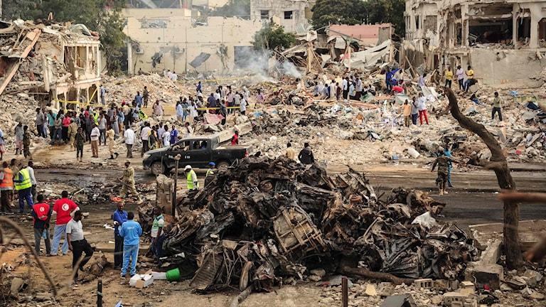 Översiktsbild efter explosionen.