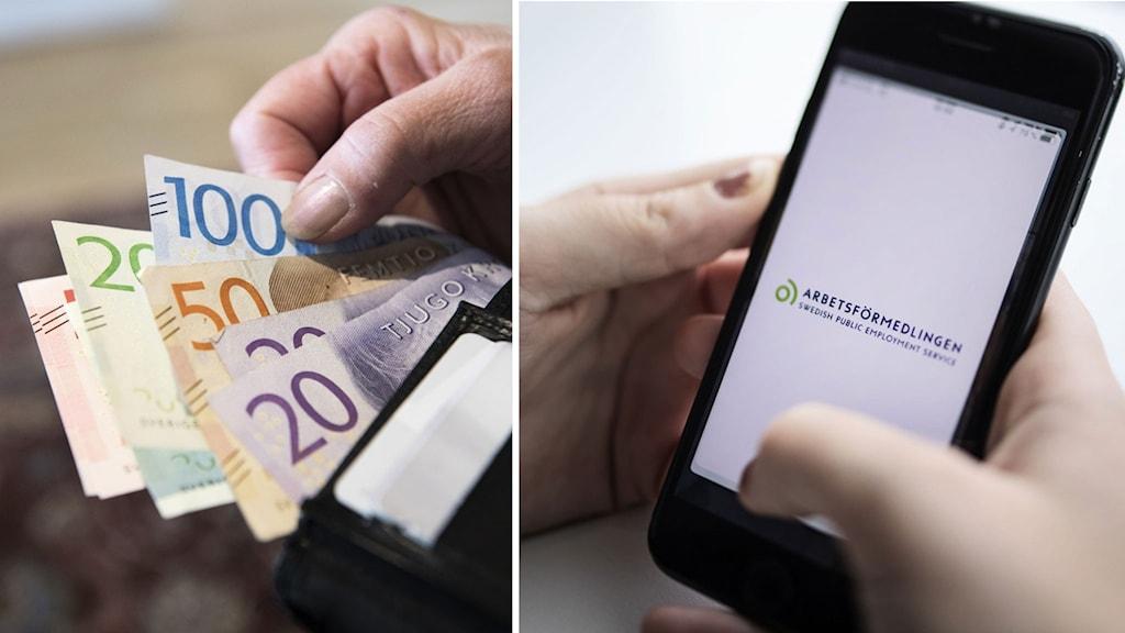 En person som håller i sedlar och en person som håller i en telefon som visar arbetsförmedlingens app.