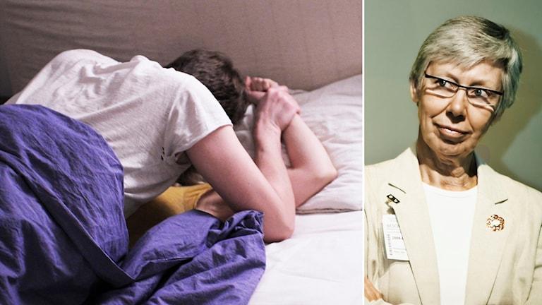 Man håller ner kvinna mot säng. Madeleine Leijonhufvud