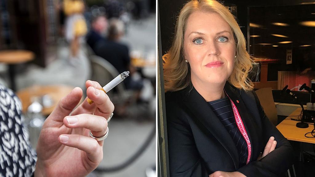 Kollage av rökning på uteservering och socialminister Lena Hallengren (S).