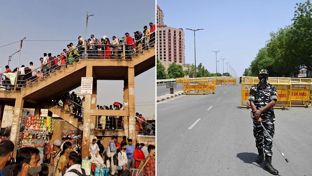 En bild på en stor folksamling i en trappa och en annan på en avspärrad väg.