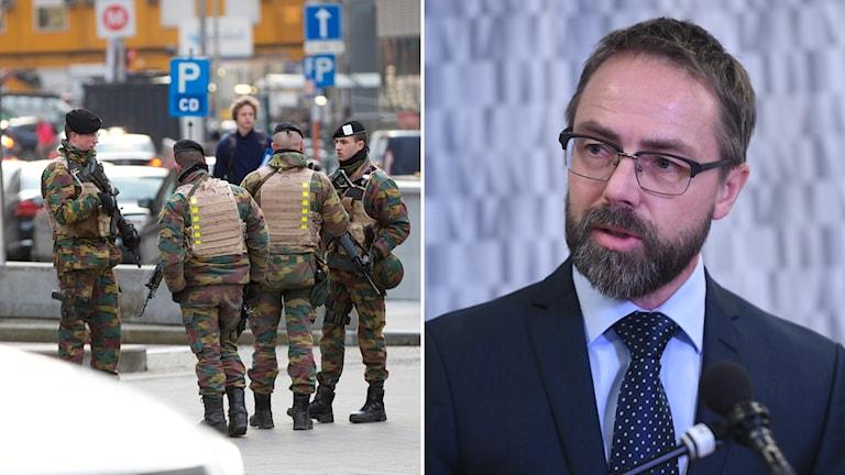 Belgiska soldater patrullerar utanför EU:s högkvarter i Bryssel och en bild på Hans Ihrman, vice chefsåklagare på riksenheten för säkerhetsmål.